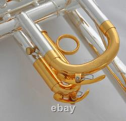 Professional Silver/Gold Plated Eb/D Trumpet 3 Monel Valves With Case 2 Mouth