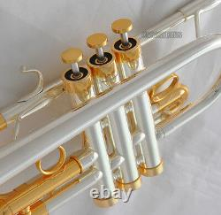 Professional Silver Gold Plated Eb/D Trumpet Horn Monel Valves With Case Mouth