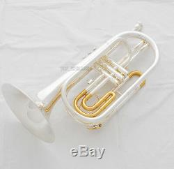 Professional Silver Gold Plated Marching Trombone B-flat Monel Valves New Case