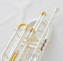 Professional Silver Gold Plated Marching Trombone Bb Keys Monel Valves With Case