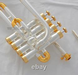 Professional Silver Gold Plated Piccolo Trumpet Monel Valve Bb/A Keys New Case