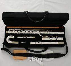 Professional Silver Plated Alto Flute G Key With Straight Curved Head Jonts + Case