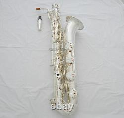Professional Silver Plated Baritone Eb saxophone Sax Low A Key With Case