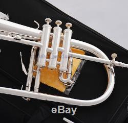 Professional Silver Plated Bb Flugelhorn MONEL Valve Quality Flugel 2 Mouthpiece