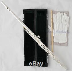 Professional Silver Plated C Tone Flute B Foot 17 Open Hole Split E Italian Pads