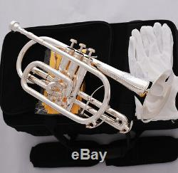 Professional Silver Plated Double Trigger Cornet Horn B-Flat Monel Valve WithCase