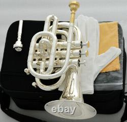 Professional Silver Plated Pocket Trumpet Bb Key Monel Valves Free 2 Mouthpiece
