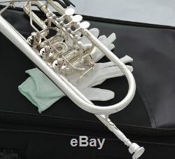 Professional Silver Plated Rotary Valve Trumpet B-Flat Upper Register Key New