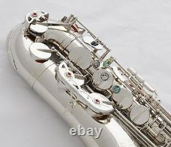 Professional TaiShan Silver Nickel Tenor Saxophone Bb Sax Abalone Shell High F#