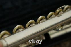 (QC)Gemeinhardt 3SB Solid Silver Open-Hole Flute Gold Plated Lip Plate WithCase