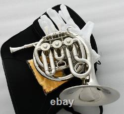 Quality Silver nickel Plated MiNi French Horn Bb Keys Engraving Bell With Case