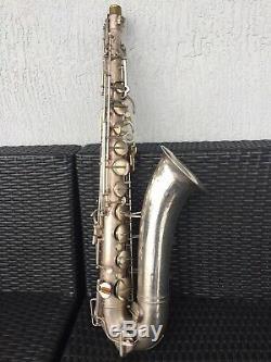 Rare Silver Plate Buescher Aristocrat Big B Tenor Saxophone Late 30s Small Bell