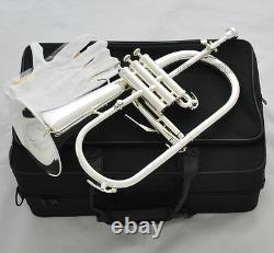 Sale! Professional Silver Plated Flugelhorn Monel Valves Bb Trigger Horn +Case