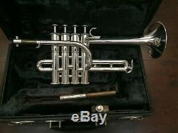Used YAMAHA YTR-9830 Bb/A 4 Valve Professional Silver Piccolo Trumpet Exellent