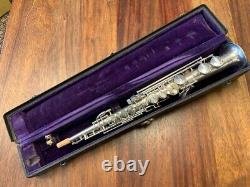 Vintage CONN Soprano Saxophone in C (!) Nr 159887 in Silver Repadded PERFECT