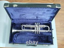Vintage Los Angeles Made Silver Plated Benge 3X Professional Trumpet with Case