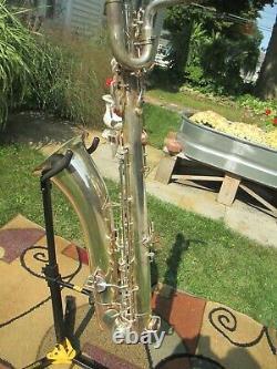 Vintage Silver Plated King Zephyr Baritone Saxophone 1949 Double Socket Neck