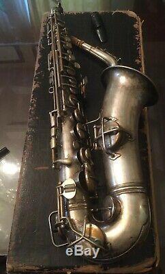 WW1 USN Navy 1918 CG CONN Silver New Wonder Alto Sax Saxophone Broadus S4