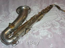 1906 Conn New Invention Tenor Saxophone, Des Tampons Récents Complet, Argent, Pièces Grand