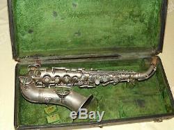 1921 Conn New Wonder Curved Soprano Sax / Saxophone, Worn Argent, Pièces Grand