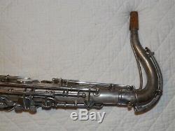 1922 Conn New Wonder Pré-chu Tenor Sax / Saxophone, Argent, Rouleau, Pièces Grand