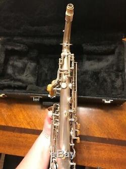 1925 Buescher Vrai Tone Courbe Saxophone Soprano À L'avant F, 5 Lot Mpc
