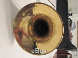 1925 C. G. Conn-trombone Professionnel - Plaqué Or Et Argent - Vintage-t103