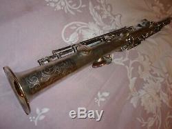 1926 Conn New Wonder Chu Bb Soprano Sax / Saxophone, Argent, Pièces Grand