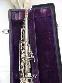 1927 Buescher True Tone Bb Silver Plated Soprano Sax Orig Pads, Museum Quality