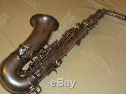 1927 Conn New Wonder II Chu Sax Alto / Saxophone, Argent Original, Plays Great