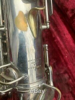 1928 C G Conn Chu Berry Tenor Saxophone Argent F # Fichier Clé Avec Selmer Mpc De Nice