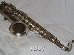 1928 Conn New Wonder II Chu Tenor Sax / Saxophone, Argent Originale
