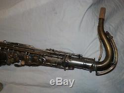 1929 Conn New Wonder II Chu Tenor Sax / Saxophone, Argent, Tapis Récentes Complet