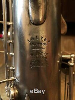 Argent 1923 Buescher Vrai Tone Tenor Saxophone Original Snaps Cas Pads Frais