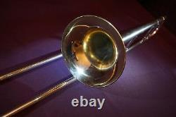 Argent Usn 1919 Buescher Grand-tone Vrai Professionnel Trombone Ténor