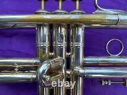 Bach Mt. Vernon Bb Stradivarius Trompette, Vintage, Années 1950, Plaqué Argent