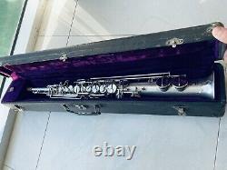 Beau Vintage Frank Holton Soprano Saxophone Original Argent Placage Intact
