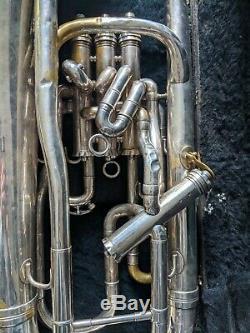 Besson Nouvelle Norme Euphonium / 4 Soupapes / Argent / Case + Mp / Vintage