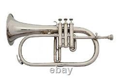 Brand New Bb Argent Plat Nickel Flugel Horn Avec Hard Free Cas+mouthpiece