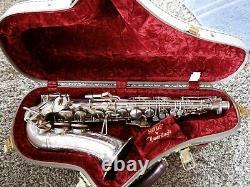 Buescher 400 Top Hat Et Cane Alto Saxophone Argent Plaqué Avec Nortons/snaps