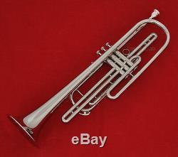 Clavier Bb Trompette Basse Professionnel Plaqué Argent Nickel Avec Corne