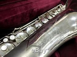 Conn 10m Artiste Sax Ténor Femme Nue Face Saxophone Plaqué Argent