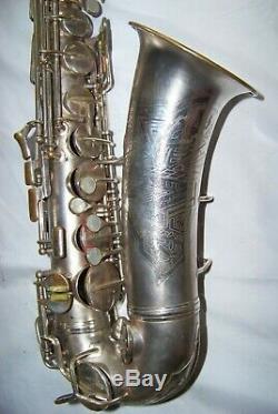 Conn Argent / Or Art Déco Transitoire Saxophone Orig. Case Very Nice
