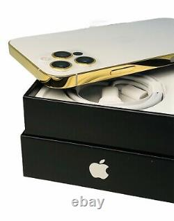 Custom 24k Gold Plaqué Apple Iphone 12 Pro Max 256 Go Argent Déverrouillé