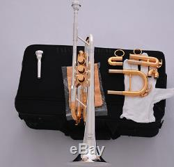 Embout Buccal Professionnel De La Valve Monel 7c + 5c Trompette Cor / Trompette Plaqué Or