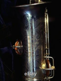 Fabuleux 1927-1928 C G Conn Chu Silver Band Ready Alto Sax Saxophone