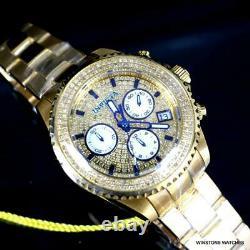 Femmes Invicta Pro Diver 1.39ctw Diamond Pave Gold Plad Steel 38mm Watch New