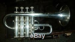 Fou-rare Bach Stradivarius 4-valve 196 Bb / A Trompette Piccolo En Argent