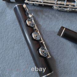 Handmade Professionnelle Ebony Flûte En Bois Argent Clé B Pied Avec Étui 2021 Nouveau