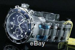 Hommes 48 MM Invicta Pro Scuba Diver Cadran Bleu Chronographe S. S Montre-bracelet Nouveau